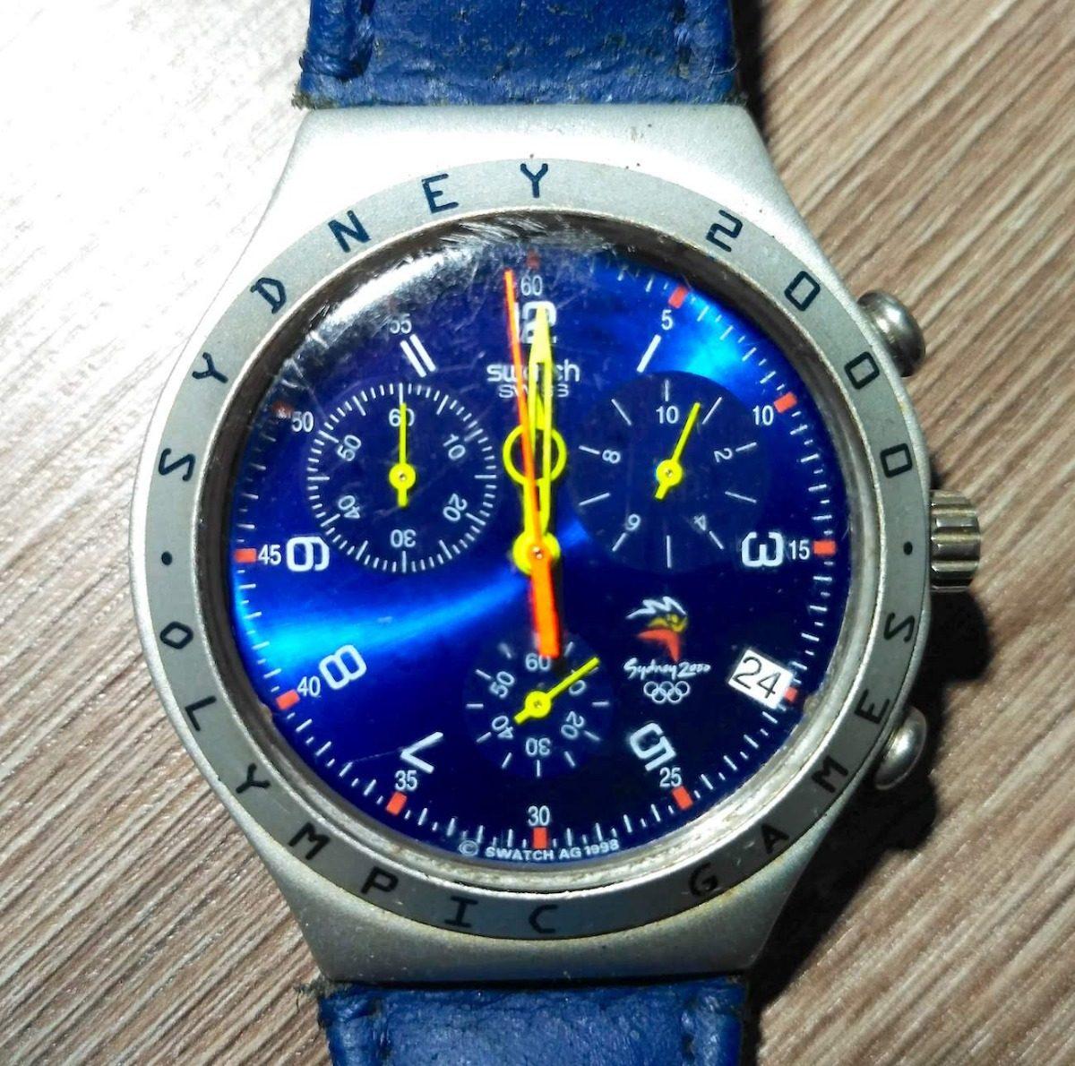 95f188baa9e relógio original swatch olimpíada sidney 2000 azul. Carregando zoom.