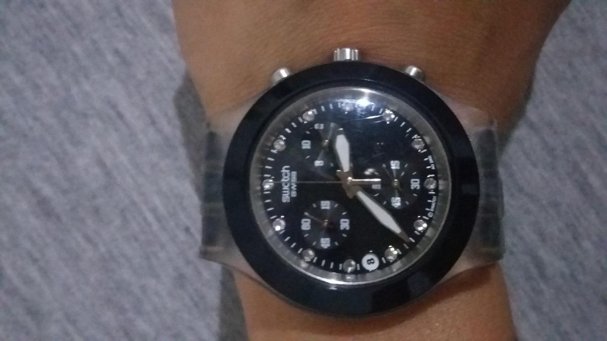 1eaf57491ef Relógio Original Swatch Swiss Diaphane Preto - Feminino - R  230