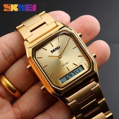 relógio original unissex skmei dourado estilo trabalho/festa