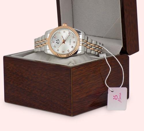 relógio orizom maria original (edição limitada) + caixa madeira + brinde colar e brinco