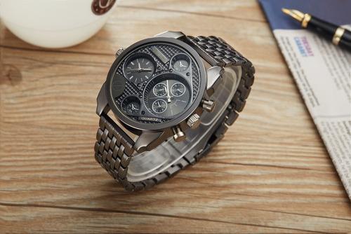 relógio oulm original dual time original a pronta entrega