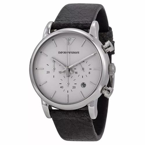 relógio pa0976 emporio armani ar1810 couro preto original