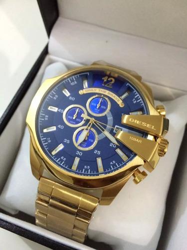 relogio pa70099 diesel mega chief 10bar dourado azul oferta