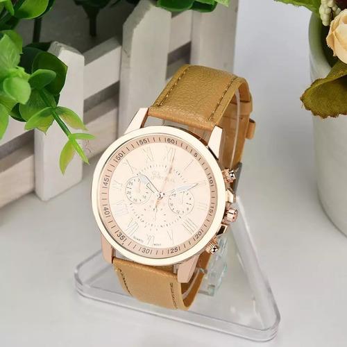 relógio para mulher em algarismo romano pulseira couro+frete