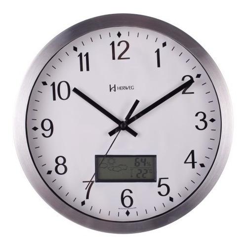 relógio parede 30cm silencioso temperatura herweg 6721s
