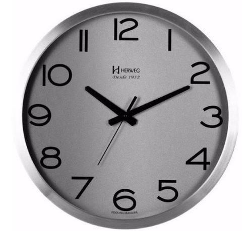 relógio parede 40cm grande alumínio sala cozinha herweg 6717