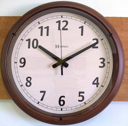 relógio parede 40cm grande retrô envelhecido herweg 6654s
