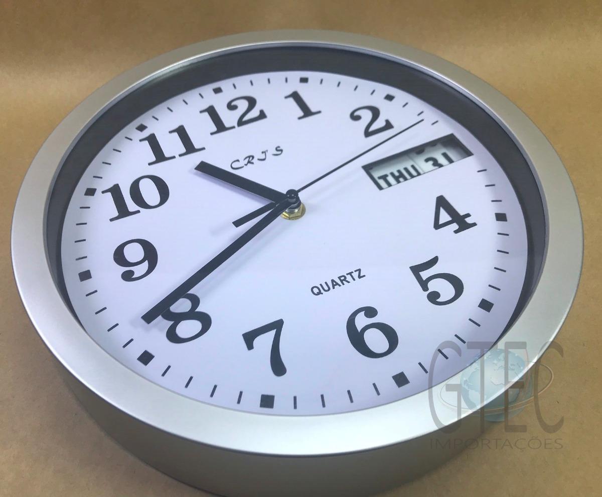 d09e3b431fd relógio parede analógico decorativo modelo redondo com data. Carregando  zoom.