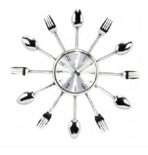 relógio parede cozinha formato talheres prata grande