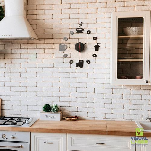 relógio parede cozinha grande personalizado sala café 35cm
