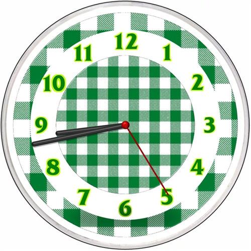 relógio parede cozinha vintage decorativo xadrez verde + cor