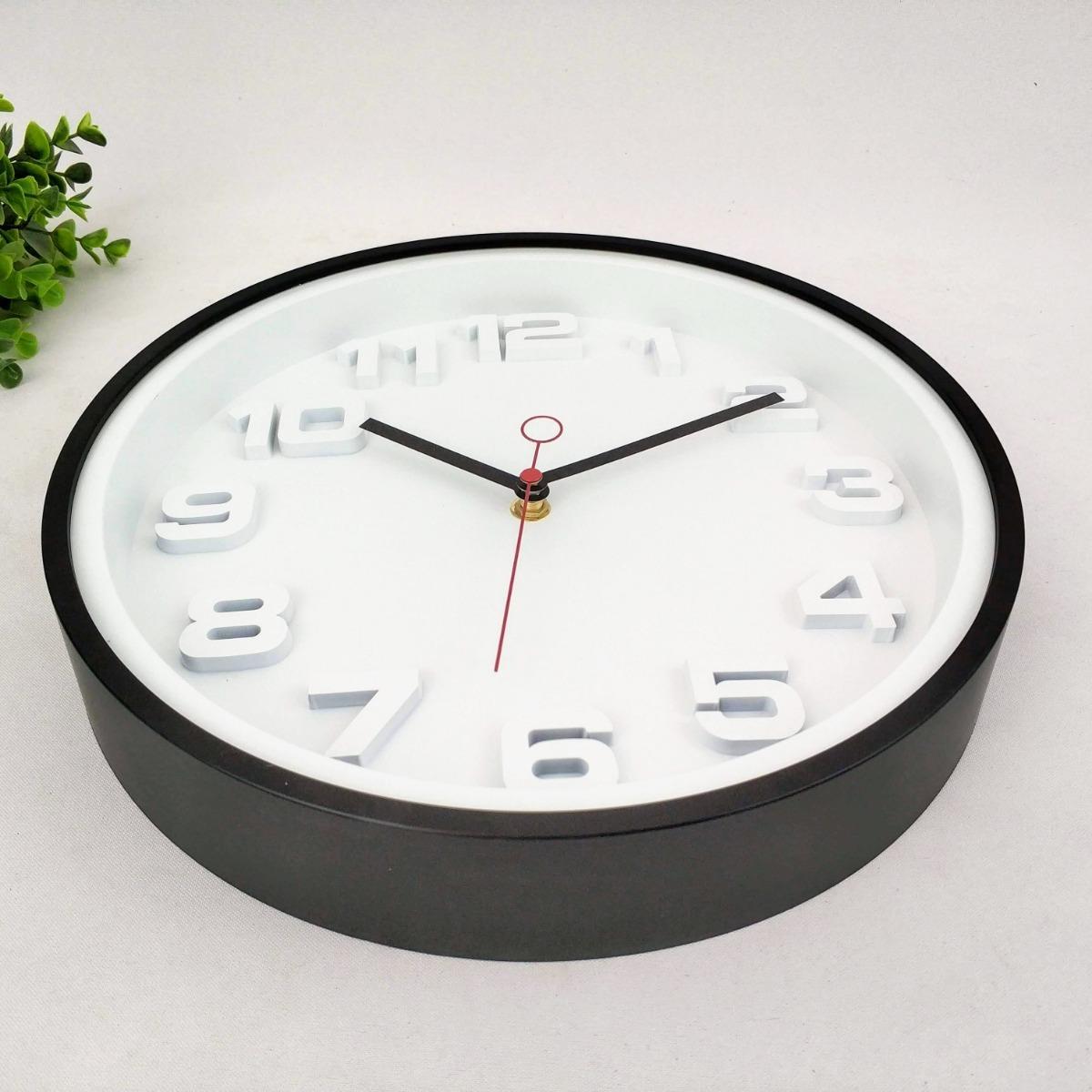 0a7a06c5de0 relógio parede decorativo branco preto alto relevo 30cm. Carregando zoom.