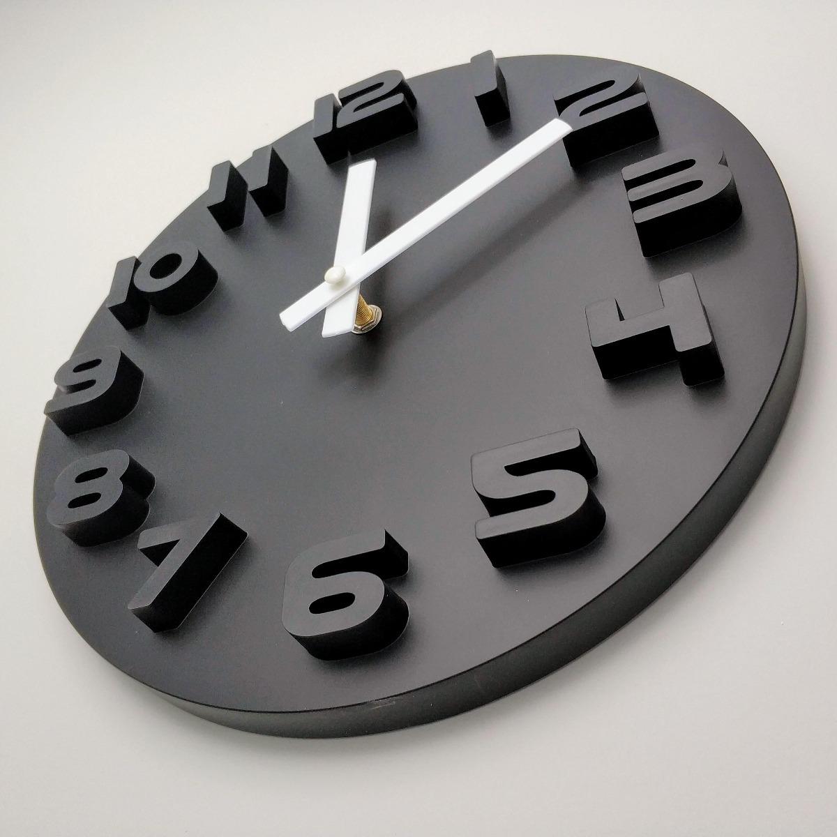 7fa686b861c relógio parede decorativo preto branco alto relevo 30cm. Carregando zoom.