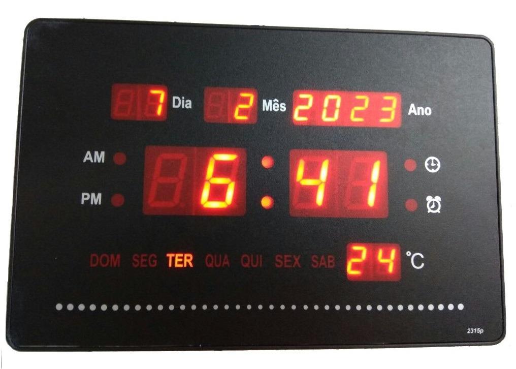 20dd7730ed0 Relógio Parede Digita Mesa Led Calendário Termômetro Alarm-p - R  110