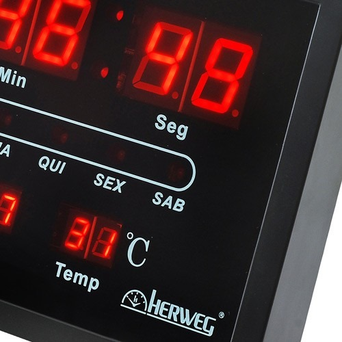 b5b456b67fd Relogio Parede Digital Led Herweg 6289 Termometro Calendario - R ...