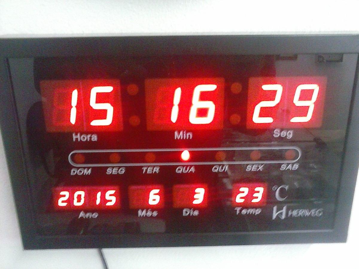 5a251e6bd2b relógio parede digital led termômetro calendário herweg 6289. Carregando  zoom.