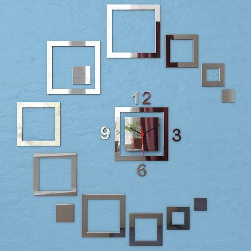 relógio parede espelho acrílico quadrados sala quarto