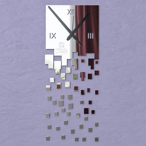 relógio parede grande espelhado abstrato sala quarto