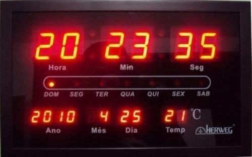 78526c92c46 Relógio Parede Herweg 6289 Digital Led Termometro Calendario - R ...