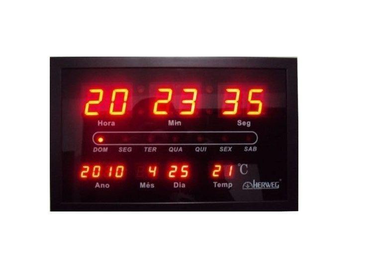 fbf2b33475d Relógio Parede Herweg 6289 Digital Led Termometro Calendario - R ...