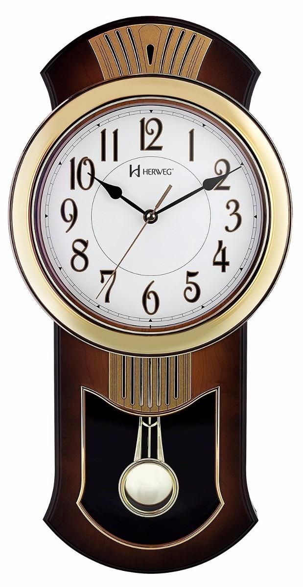 50654dac595 Relógio Parede Herweg 6392 Analógico Pêndulo Refinado - R  309