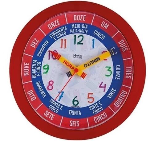 relógio parede herweg educativo( fala a hora cheia) vermelho