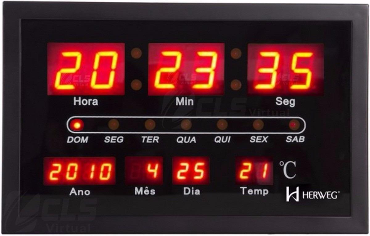 00a29eb7a56 relógio parede led digital 110 220 v termômetro herweg 6289. Carregando  zoom.