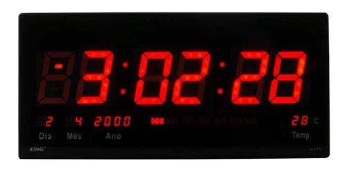 relógio parede led digital grande 46cm termômetro data nf l2