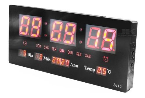 relógio parede led digital temperatura calendário alarme