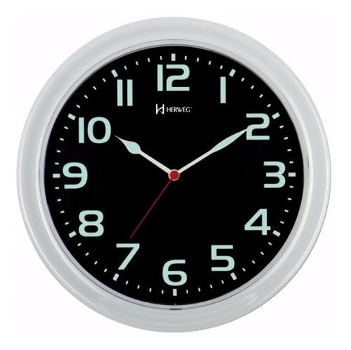 relógio parede luminoso 30cm tic-tac branco herweg 660016