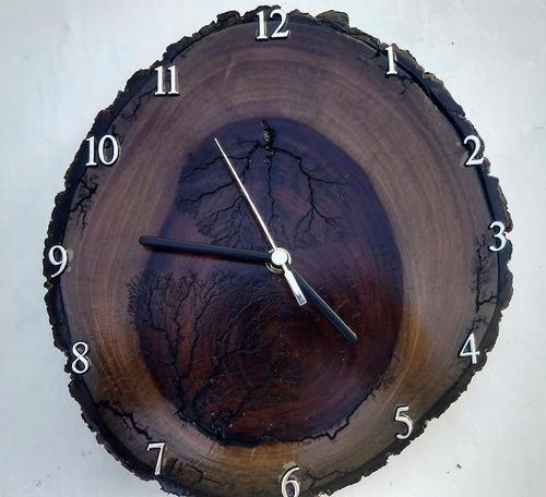 relogio parede madeira ipê rústico envio imediato