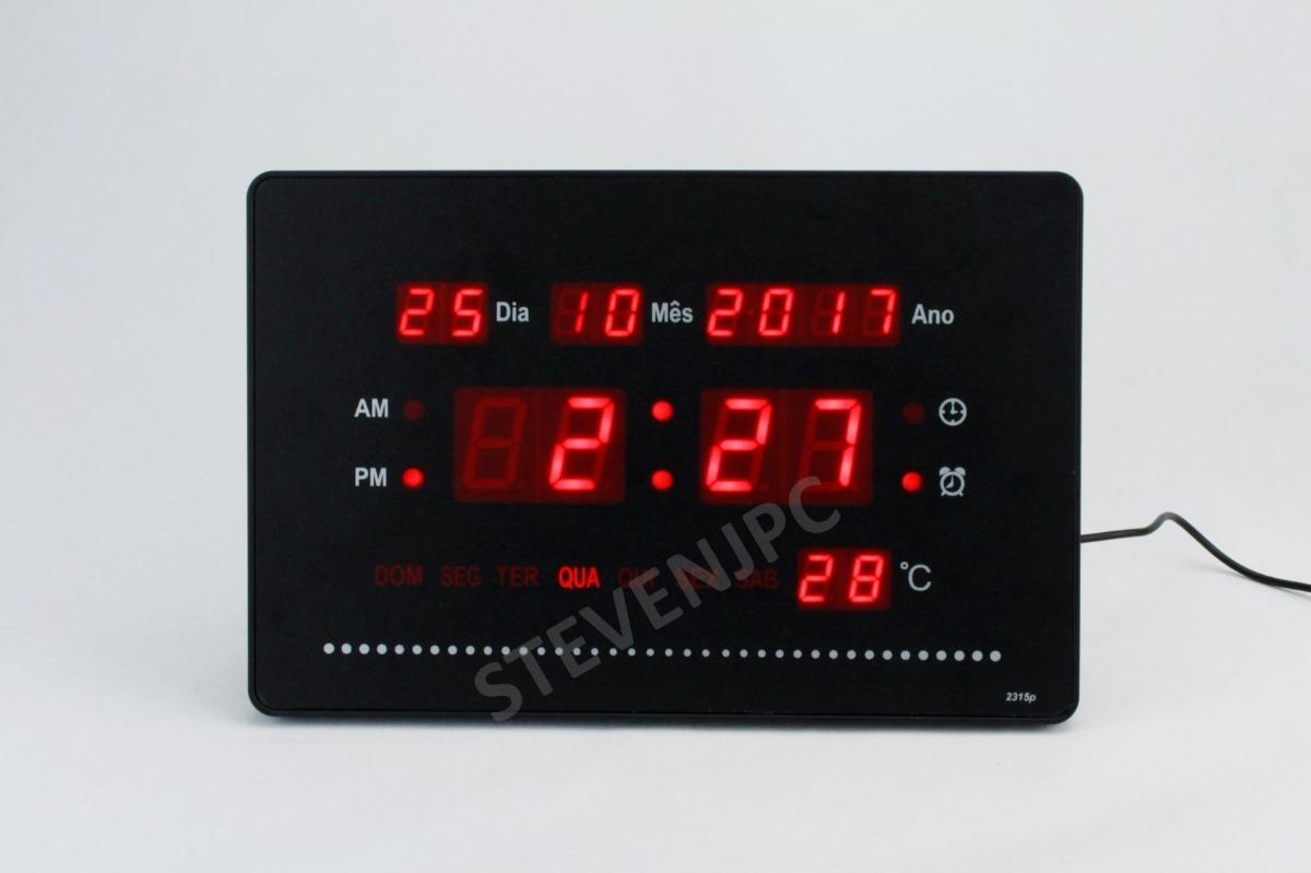 a40da945068 relógio parede ou mesa digital painel led data e termômetro. Carregando  zoom.
