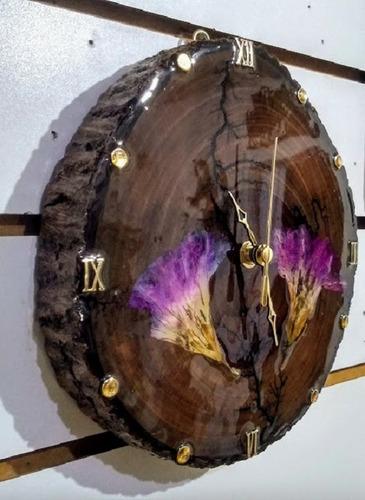 relógio  parede resina epoxi madeira ipê flores naturais