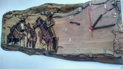 relógio parede rústico madeira  vaquejada envio imediato