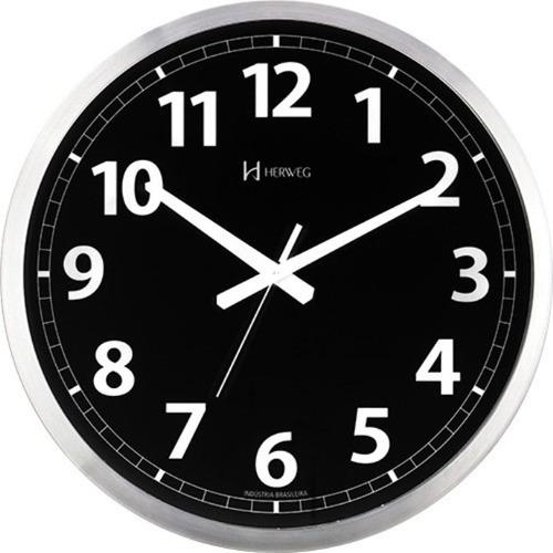 relógio parede silencioso contínuo preto 40cm herweg 6720s