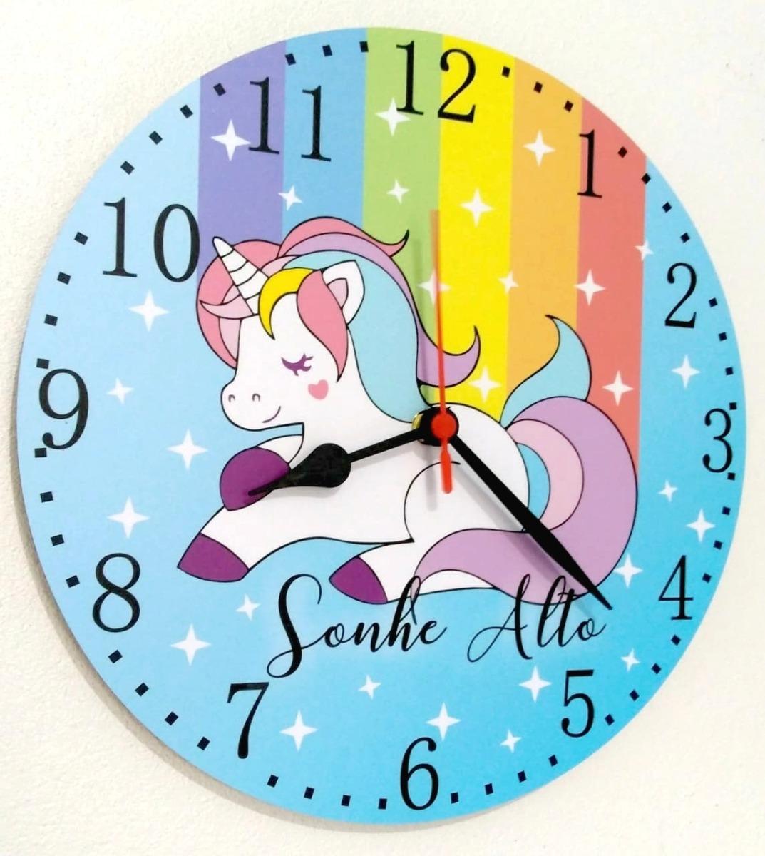 Relogio Parede Unicornio Infantil Crianca Sonhe Alto Menina Arco
