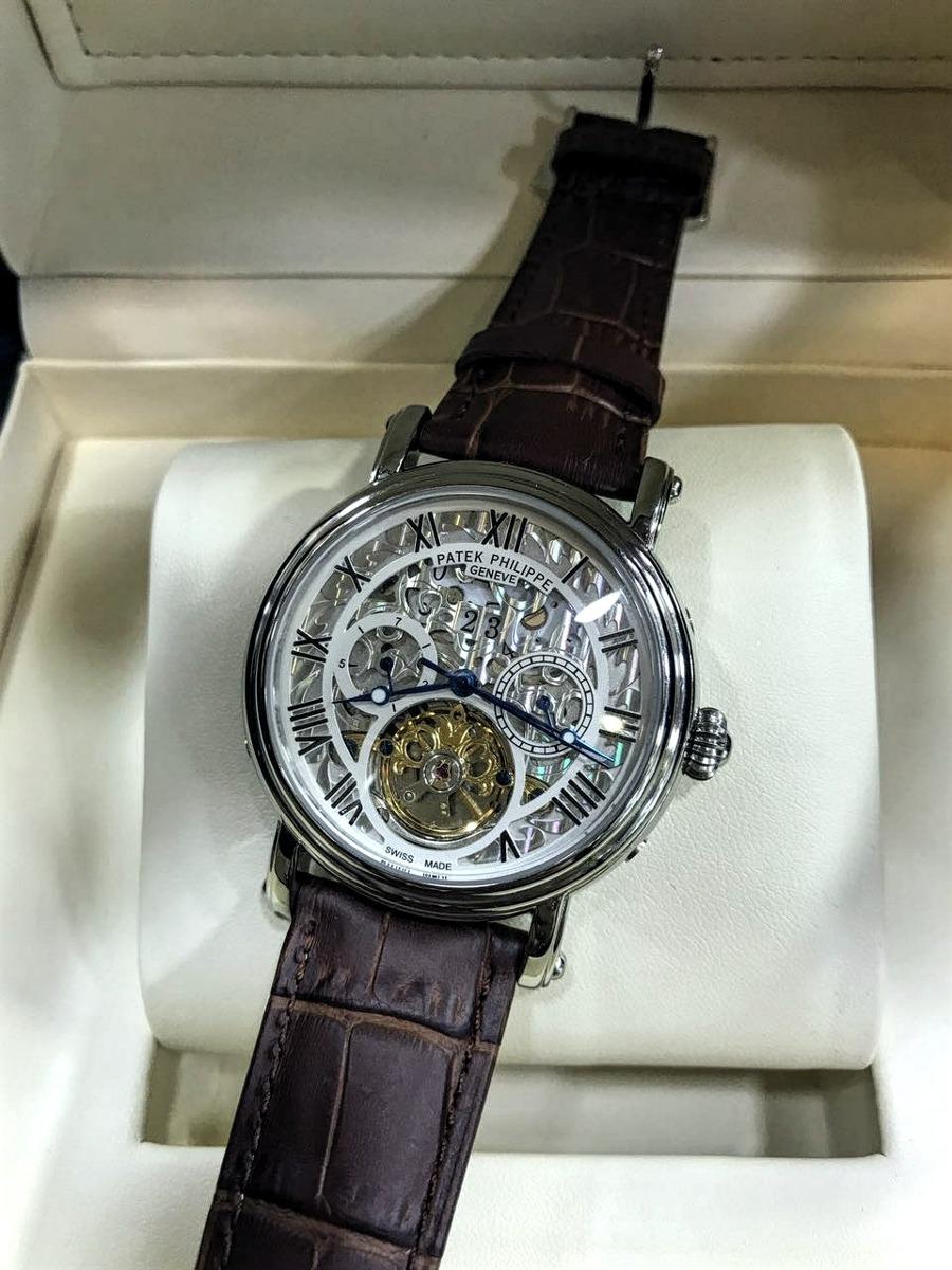 5c7372b4d23 relógio patek philippe esqueleto pulseira de couro masculino. Carregando  zoom.