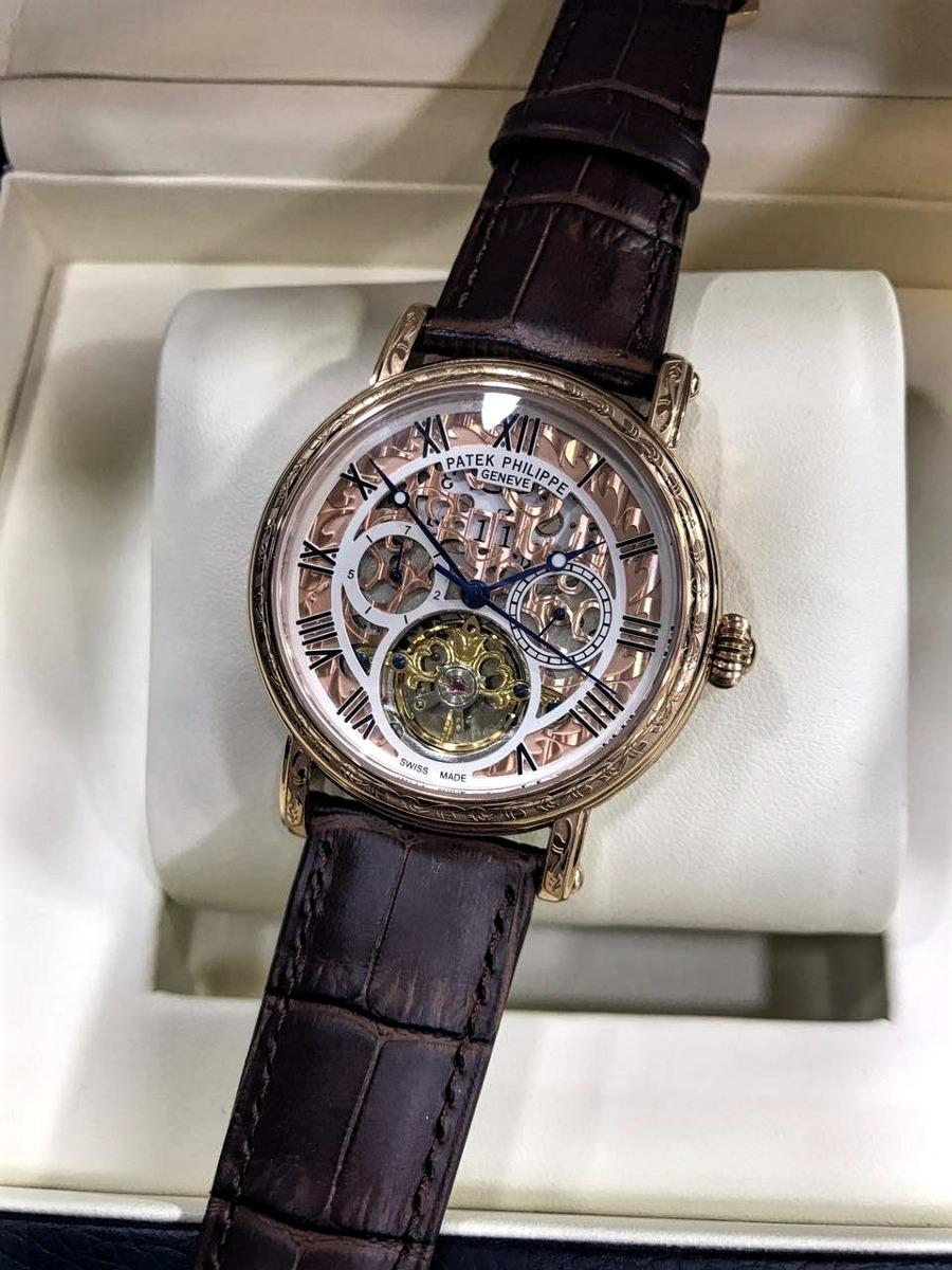 508ae65780a Relógio Patek Philippe Esqueleto Pulseira De Couro Masculino - R ...