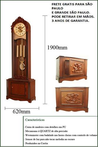 relógio pedestal coluna chão carrilhão grande