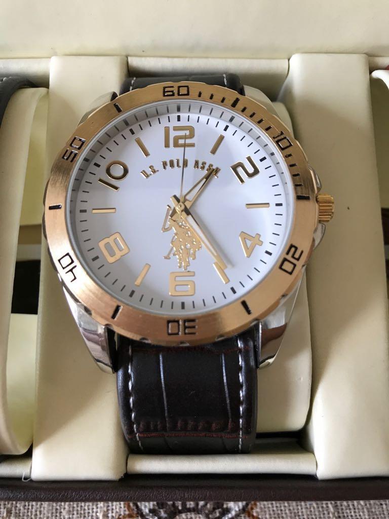ed07f9a8555 Relógio Polo Masculino 3 Pulseiras Em Couro Com Caixa. Orig - R  288 ...