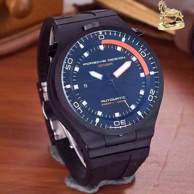 85c181b3186 Relógio Porsche Design Diver Automático Preto E Laranja - R  800
