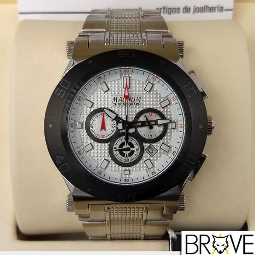 relógio prata magnum masculino original 2 anos garantia + nf