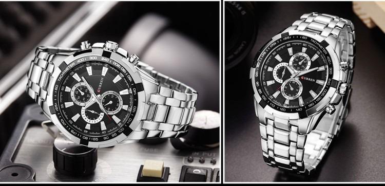 69f7ab8554f Relógio Prateado Homem Mostradores Executivo Luxo Curren - R  127
