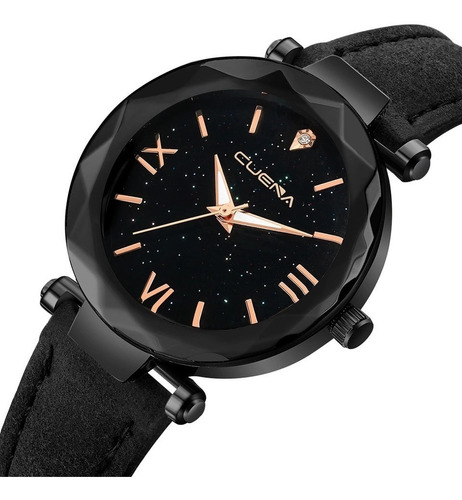 relógio preto algarismo romano pulseira couro top p /unissex