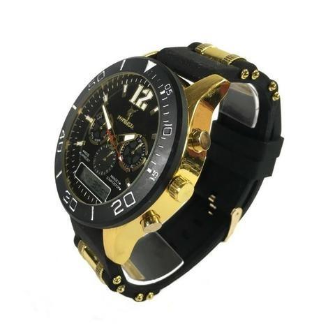4c86e4dbb64 Relógio Preto Com Dourado Robusto Masculino + Frete Grátis - R  149 ...