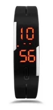 relógio preto digital slim led silicone pulseira borracha