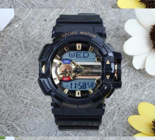 relógio preto dourado automático horário mundial s-shock led