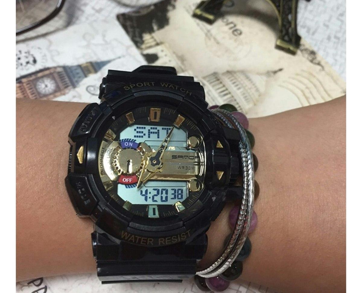 7b565970050 relógio preto dourado automático horário mundial s-shock led. Carregando  zoom.