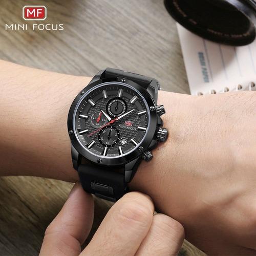 relógio preto minifocus com nota fiscal + carteira brinde