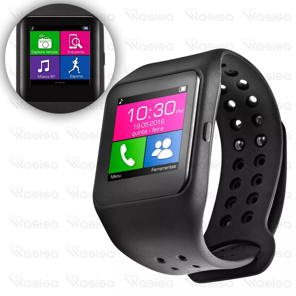 bb794b3d526 Relógio Preto Smartwatch Multilaser Sw1 Bluetooth Whatsapp - R  358 ...